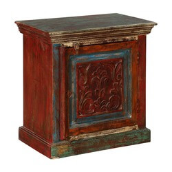 Rustic Fleur-de-lis Mango Wood Nightstand End Table Cabinet
