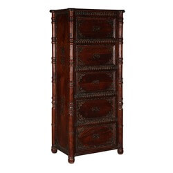 Tudor Classic Mango Wood Brass Inlay 5 Drawer Tower Dresser