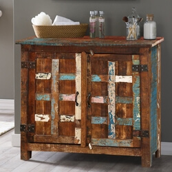 Bryant Distressed Rustic Reclaimed Wood 2 Door Storage Cabinet
