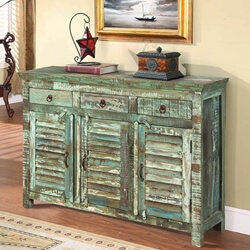 Turquoise Trail Light Green Slat Design 3 Drawer Sideboard Cabinet