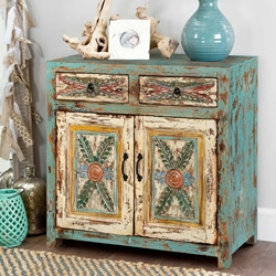 Avilla Fern Pattern 2 Door 2 Drawer Accent Storage Cabinet