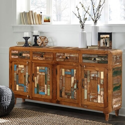 Turquoise Trail Reclaimed Wood Mosaic Inlay 4 Drawer Large Sideboard