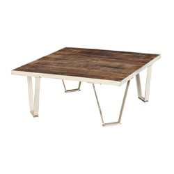 "Ystad 31"" Mid Century Modern Iron and Wood Coffee Table"