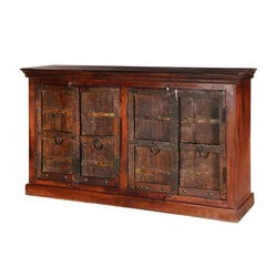 Willamette Dark Brown Rustic Solid Wood 4 Door Large Buffet Cabinet