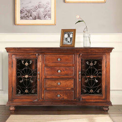 Anna Grapevine Solid Wood 4 Drawer Accent Sideboard Cabinet