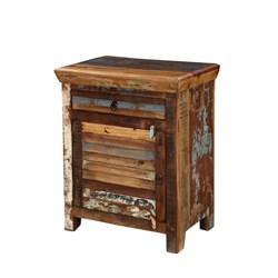 Appalachian Rustic Reclaimed Wood Shutter Door Storage Cabinet