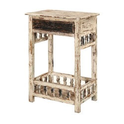 "Winter White Distressed Mango Wood 35"" Nightstand End Table"