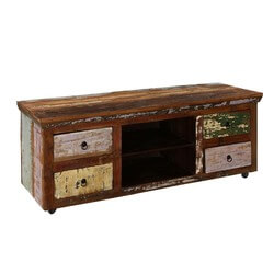 Appalachian Colors Reclaimed Wood Rolling TV Console Media Cabinet