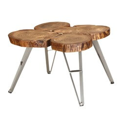 Live Edge Laura Wooden Small Coffee Table with Iron Legs