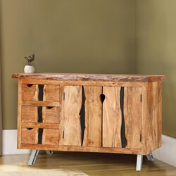 Saturn Acacia Wood Live Edge 3 Drawer Large Sideboard Cabinet