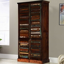 Adeline Louvered Door Rustic Reclaimed Wood Large Armoire With Shelves