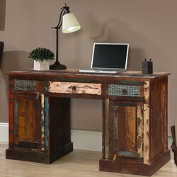 Venus Reclaimed Wood Office Desk with Drawers & Doors
