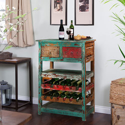 Hooker Mango Wood Handcrafted Rustic Wine Rack with drawers