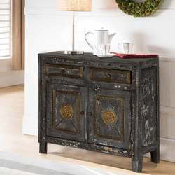 Midnight Gold Mango Wood Brass Inlay 2 Drawer Rustic Storage Cabinet