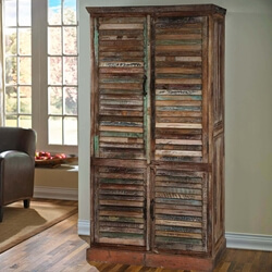Buckley Solid Reclaimed Wood Large Armoire Cabinet With Shutter Door