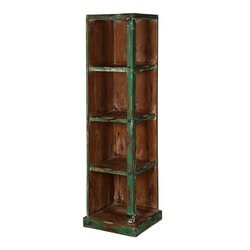 Modern Pioneer Mango Wood 4 Open Shelf Corner Bookcase
