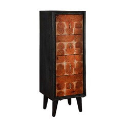 Tree Ring Tiles Mango Wood Freestanding 4 Drawer Accent Tall Dresser