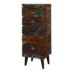 "Rustic Colors Reclaimed Wood Standing 51"" 5-Drawer Accent Dresser"