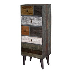 Hartford Wooden Patches Mango Wood 7 Drawer Vertical Accent Chest