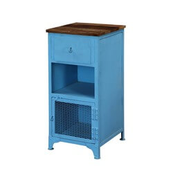 Sky Blue Industrial Mango Wood & Iron Accent Cabinet Nightstand