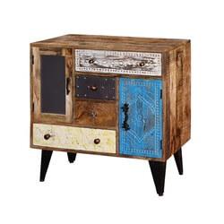 Industrial Pioneer Mango Wood Standing 4 Drawer Accent Combo Dresser
