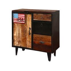 American Rustic Mango Wood & Iron Freestanding Combo Dresser