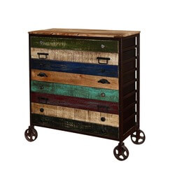 Rustic Rainbow Industrial Style Rolling 8 Drawer Accent Dresser