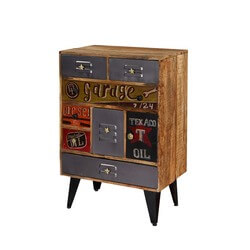 Pop Art Garage Mango Wood Multi-Compartment Industrial Accent Chest