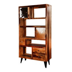 "California 68"" Asymmetrical Bookcase Storage Rack with Drawers"