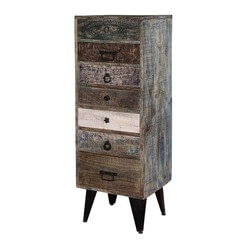 Chicago Distress Mango Wood 7 Drawer Tall Semainier Accent Chest
