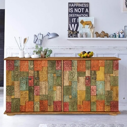 Georgia Colorful Carved Tiled Solid Wood Rustic Buffet Cabinet
