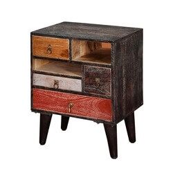 Hawaii Colorful Rustic Mango Wood 4 Drawer Accent Nightstand