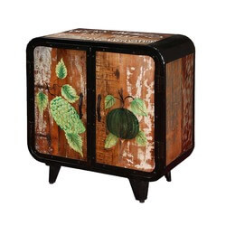 Carolina Retro Rustic Hand Painted Industrial Storage Accent Cabinet