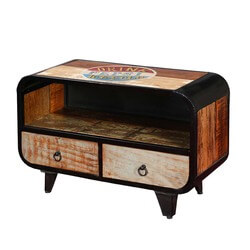 Retro Rustic Mango Wood & Iron TV Accent Media  Console