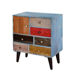 Primary Colors Mango Wood & Iron 6 Drawer Rustic Accent Chest