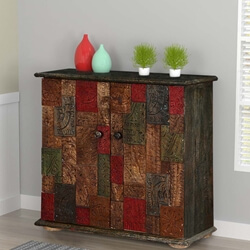Haughton Conch Carving Mosaic Acacia Wood Freestanding Accent Cabinet