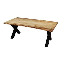 "Industrial 78"" Cross Legs Acacia Wood Live Edge Dining Table"