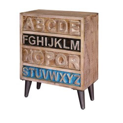 Natural Rustic Wood Alphabet Standing 4 Drawer Accent Chest