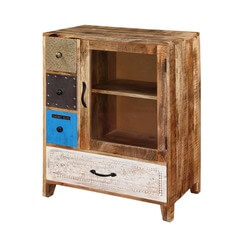 Rustic Patches Mango Wood 3 Drawer Accent Display Cabinet