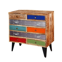 Primary Colors Mango Wood 8 Drawer Accent Standard Horizontal Dresser