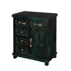 Midnight Green Mango Wood Freestanding 5 Drawer Accent Cabinet