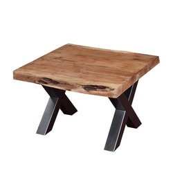 "Picnic Style Acacia Wood & Iron 23"" Square Live Edge End Table"