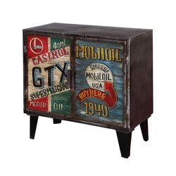 Main Street Auto Theme Iron 2 Door Industrial Storage Cabinet