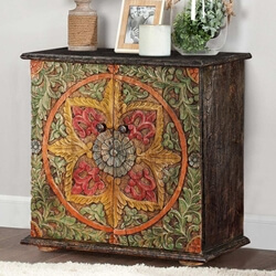 Abie Hand Carved Distressed Mango Wood Accent Storage Cabinet