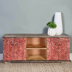 Los Angeles Red Intricately Designed 4 Door Rustic Media Console