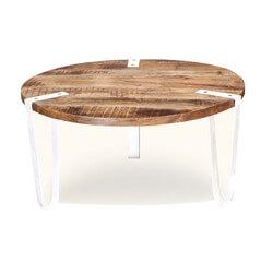 Victoria Mango Wood & Iron Legs Round Coffee Table