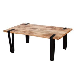 Montana Stylish Rectangular Solid Wood and Iron Accent Coffee Table