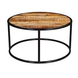 Industrial Round Accent Coffee Table with Iron Legs