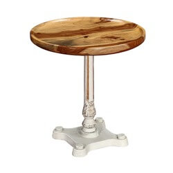 """Classic Cafe 29"""" Round Rosewood & Iron Pedestal Table"""