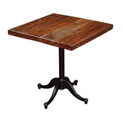"Modern Café 21"" Square Mango Wood & Iron Pedestal Table"